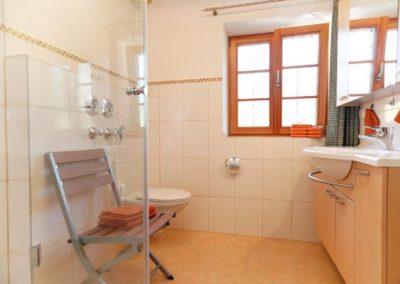 Im Bad sind Dusche und WC